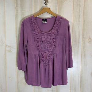 Noelle Purple Lace Front Boho Babydoll Top S/M